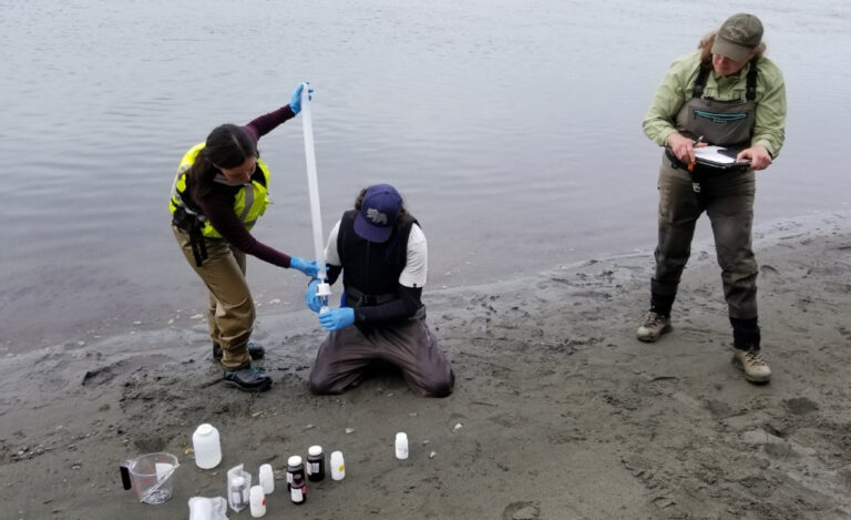 Field filtering sample to be analyzed for dissolved metals. Akwe River, July 2019