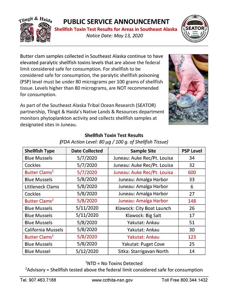 May 13, 2020 shellfish toxin report