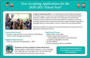 Tlingit & Haida Head Start Now Accepting Applications for the 2020-21 School Year