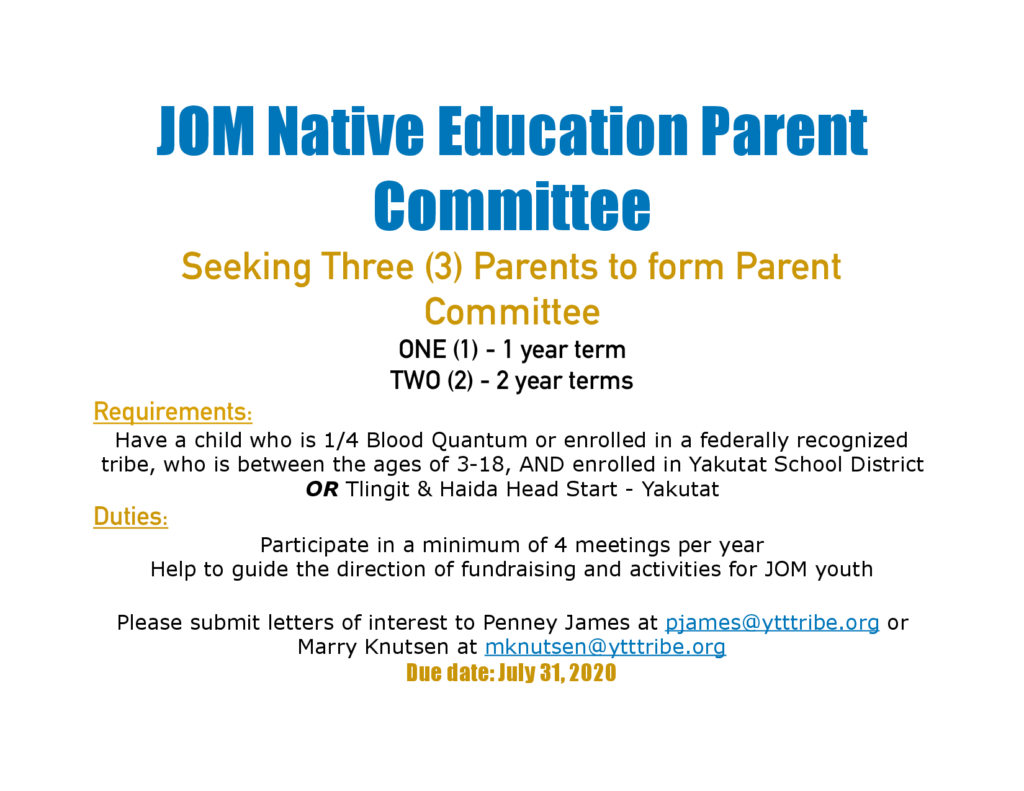 JOM Native Education Parent Committee vacant seats advertisement