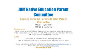 JOM Native Education Parent Committee Vacant Seats