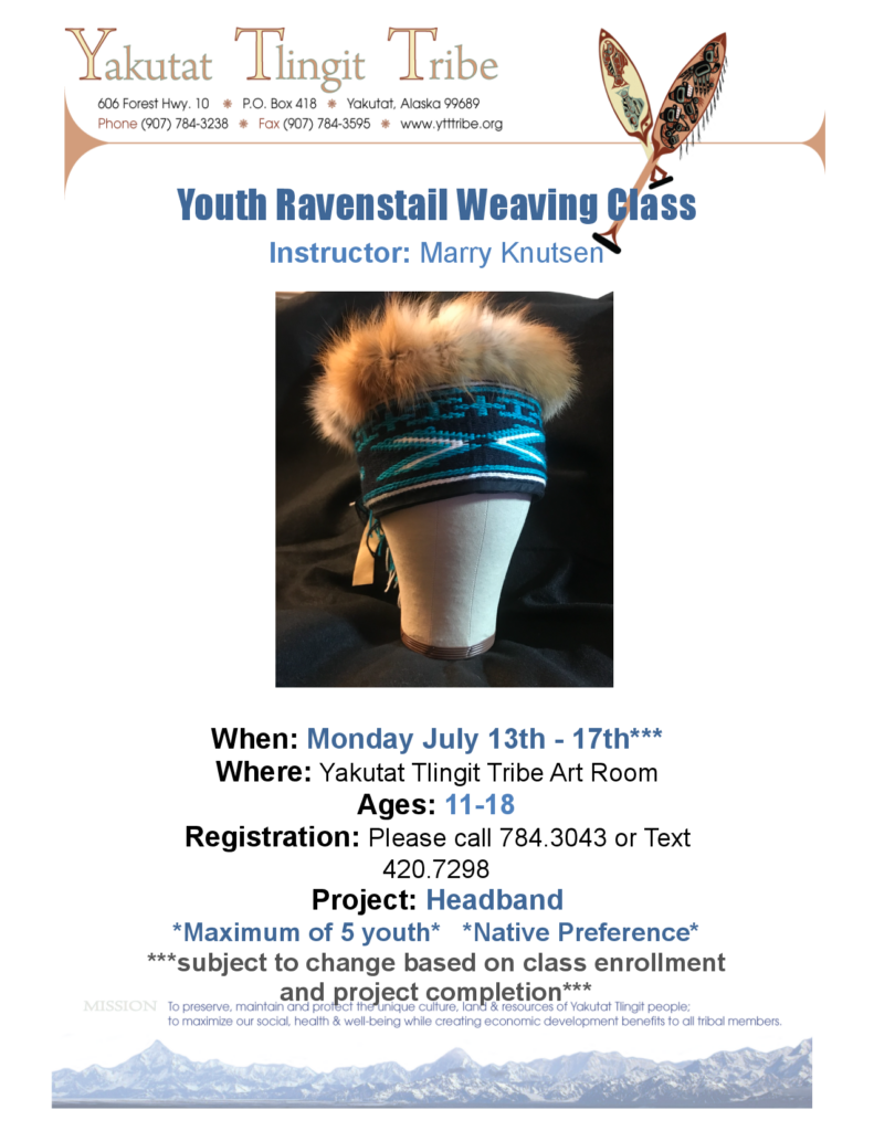 youth ravenstail weaving class advertisement